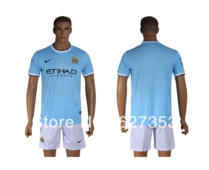 hot 2013/14 Manchester City home blue soccer jersey + shorts kits, best quality football uniforms Embroidery logo ,free shipping(China (Mainland))