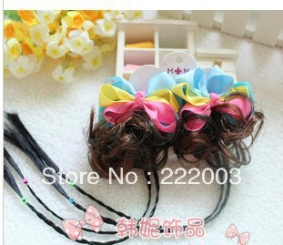 Children headdress Korean manufacturers wholesale children's jewelry tricolor Rowan braided wig with curls kinks(China (Mainland))