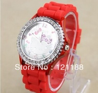 7Colors Hello Kitty Watch Single Diamond Dial Silicone Strap Watches Fashion Candy Color Band Shiny Dropship