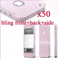 CN shipment 50pcs Front+Back+Side Full Body Colorful Bling Glitter Skin Screen Protector Sticker Cover For iPhone 5 5th