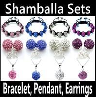 Shamballa Jewelry Set Necklace Pendant Earrings 9 Beads Bracelet Clay Crystal Disco Ball