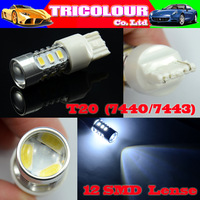 DHL FREE!!! + Wholesale 100pcs Super Bright T20 7440 7443 12 SMD 5630 with Lens Car Stop Brake Tail Turn Signal Light 12V #LD09