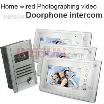 1Vs3 Video Doorphone Door Bell Intercom System Photograph Camera 3PCS 7TFT LCD ( INS-DP06 )
