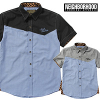 Free Shipping 2013 New Men's Shirt Leopard Print Contrast Color Embroidery Oxford Male Short-sleeve Shirts High Quality