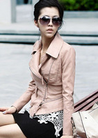 New Style Sexy Womens Korea Ladies leather Jacket Pink Coat Outerwear Fur Clothing (Drop Shipping) 1102E