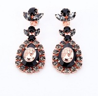 New Fashion Black Resin Stone And Crystal Drop Earrings Fashion Jewelry For Women Free Shipping 2013