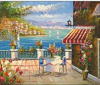 Gift Presented Buillding Landscape&scenery Mediterranean Oil Painting On Canvas