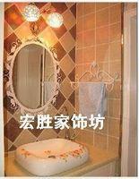 Fashion rustic wrought iron mirror iron frame picture frame bathroom mirror dressing mirror wall vanity mirror