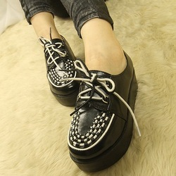 Platform shoes women's shoes preppy style lacing falts ankle-length boots(China (Mainland))