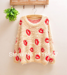 2013 sweater is winter. Mohair easing. Lips render unlined upper garment. print Knitwear Mohair sweater coat. Women's clothing(China (Mainland))