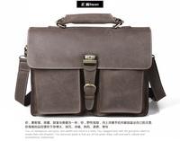 Men Retro GENUINE LEATHER handbag Men crazy horse leather Briefcase