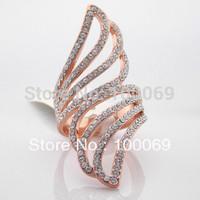 Min.order is $15 (mix order) Free Shipping& Fashion Shining Rhinestone Long Tail Peacock Finger RingsR3205