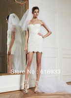 Free Shipping New Coming Sheath Strapless Sweetheart Lace Sexy Mini Wedding Dress ZM-3029