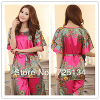 2013 New arrival women's and ladies silk sexy classical print sleep set , twinset lounge, sleepwear and pajama