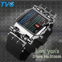 2014 Fashion Watches Men Quartz Binary Watches Sport LED S.Steel Wristwatch Free Shipping