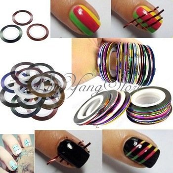Free Shipping 18 Rolls Color Nail Art UV Gel Tips Striping Tape Line Sticker DIY Decoration Wholesale