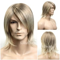 New Fashion Male Gray Wig For Men Party /Cosplay / Halloween Wigs Hotsale Handsome Cool Men Boy Medium long Hair Wigs