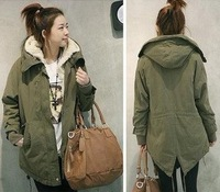 2013 newest army green women size plus S-XXLwinter casual fur collar coat,warm thicken cotton Down Parka overcoat Free shipping