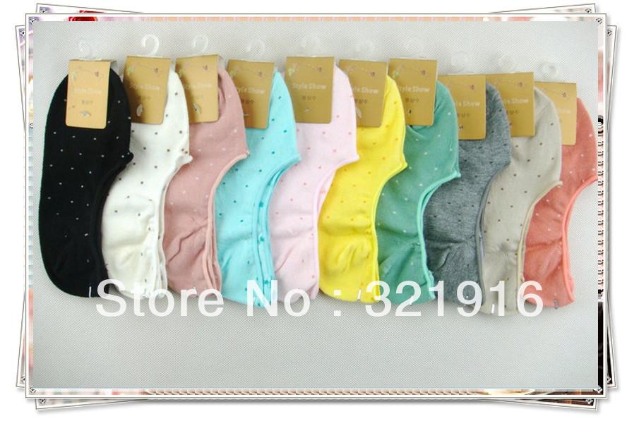 no show socks soft-fit Footsies on sale polka-dot socks free shipping invisible socks 20 prs lot mix colours women cotton socks(China (Mainland))