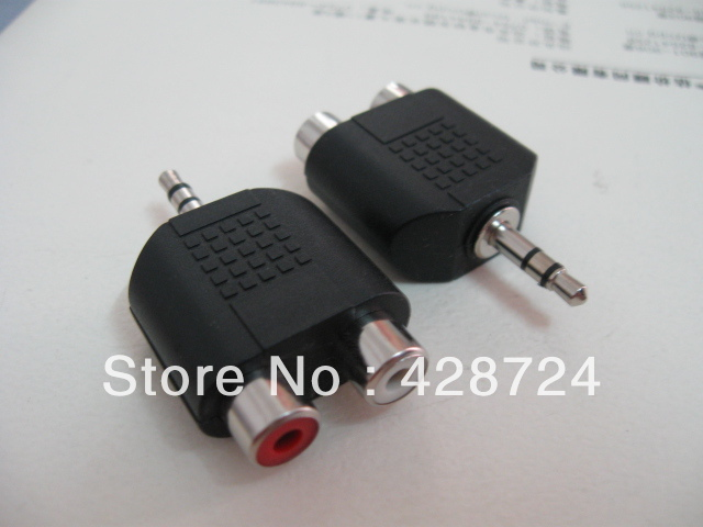 "New free shipping 20Qty 1/8"" 3.5mm Stereo Mini Plug to dual 2 x RCA Female Jack Splitter(China (Mainland))"