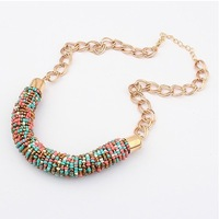 European and American fashion colorful beads handmade Choker Necklaces 6 colors Min.order $15