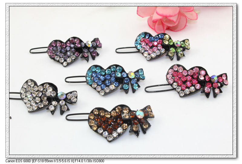1.8'' blended color cute black plated heart & bowknot crystals girl women hair clip, frog hair grips, lady hair pin, A1033(China (Mainland))