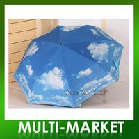Free shipping/Blue Air Umbrella Super Snti-uv Sun Protection Blue Sky Umbrella For Gift