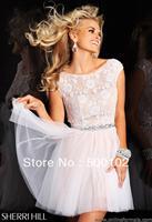 Vogue Short Jewel Lace Bodice Beaded Cocktail Dresses