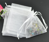 500pcs/lot Mini Jewelry Packing Bags White Organza Bags 9*12cm Pretty Pouches Wedding/Candy Gift Bags Free Shipping