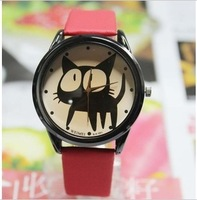 Free shipping 2013 Wholesale Lovely big eye cat face student watch women's vintage watches  H045
