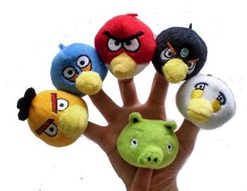 free shipping 120pcs Bird Finger Puppet Toys Soft Plush Stuffed Educational Baby Toy 6pcs/set finger toy 120pcs/lot
