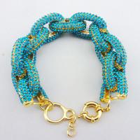 Free shipping Blue  Inspired Pave Link Bracelet,crystal chain link bracelet