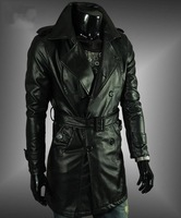 Men's woolen trench coat leather long Wool coat gotheic Outwear men's coat black size:M L XL XXL