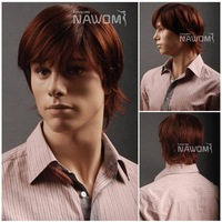 Free shipping Handsome Business Men Short Straight Auburn wig Good Quality Synthetic Cool boy wig Hotsale artist wig for men