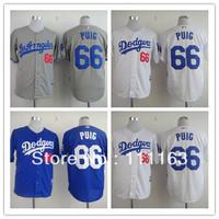 Wholesale Men's Baseball Jerseys Dodgers Yasiel Puig #66 White ,Blue,Gray Coolbase  Jersey size:48~56+Mix Order,Free Shipping