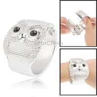 Fashion Personalized Metal Rhinestone Owl Shaped Punk Bracelets Free Shipping(Silver)