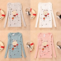 M241 2012 women's o-neck slim sweet women's cartoon long-sleeve T-shirt