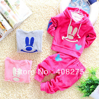 2013 Hot sale Autumn children suit for boys girls Long-sleeve Hoodie Embroided cartoon mouse sets Suitable for 1Y 2Y 3Y 3 colors