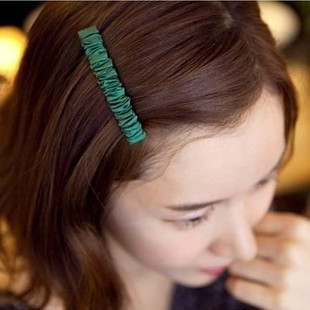 Popular hairpin solid color gived chiffon pleated side-knotted clip spring clip bangs clip hairpin(China (Mainland))