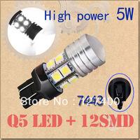2pcs 7440 w21w 7443 w21/5w t20 High Power Q5 LED + 12 SMD 5050 Pure White Stop Tail Car 5W Light Bulb Lamp