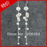 Earrings female natural freshwater pearl earring  tassel long earrings