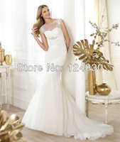 2014 New Arrival Mermaid Bridal Dress Jewel Stunning Wedding Dress HIgh Quality FreeShip