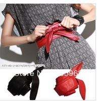 Free shipping Lady PU Leather bowknot waist belt, bind wide belt wholesale dropship