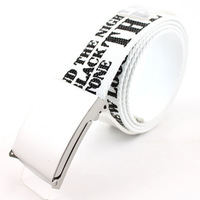 Male casual canvas printing strap paintless dual wide belt women's candy color waist belt white