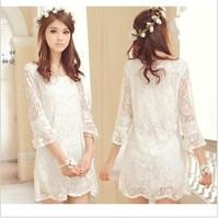 NEW 2014  full lace beautiful chiffon half sleeve summer dress white women free shipping
