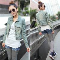 2014 hot selling women's slim jean jacket denim coat outerwear short Denim jacket S M L 3 sizes