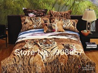 new Full Queen Size Quilt Duvet Covers Cotton 3D Oil Painting Beddng Girl's Comforter Sets Brown Tiger Animal Prints Bed Linens