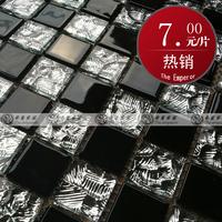 Black crystal stone pattern mirror surface glass entrance waistline background wall tile mosaic