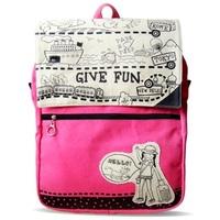 Traveler women's princess flower canvas backpack bag red x0808