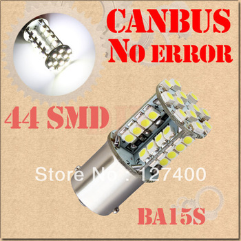 2pcs 1156 BA15S 44 SMD Pure White CANBUS OBC No Error Signal Car 44 LED Light Bulb